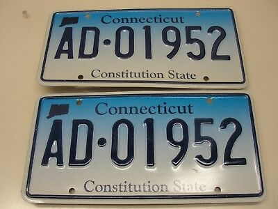 Set Of Connecticut Constitution State License Plates Ad-01952