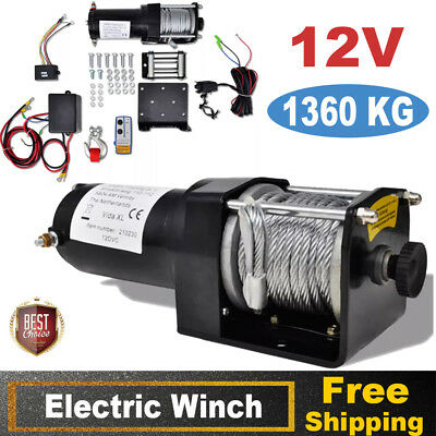 1360KG Electric Recovery Winch 12V Wire Remote Control Kit ATV Trailer Truck Hot