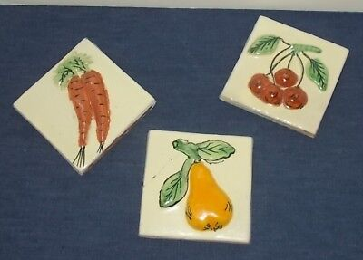 Vintage 1940s Mexican Bas Relief Clay Pottery Tiles-Pear-Cherries-Carrots-Glazed