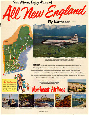 1955 vintage travel AD NORTHEAST AIRLINES , serves New York, New England  092517