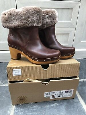 Ugg Brown Leather Winter Boots Suit Size 3/4 New RRP £265