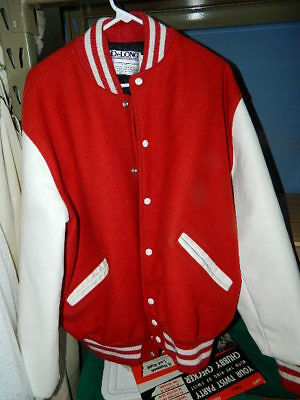 DeLong Leather & Wool Letter Jacket red and white mens size XL lettermans