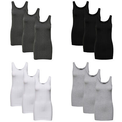 ONLY Top 3er Pack Damen LIVE LOVE LONG Basic Tank Tops