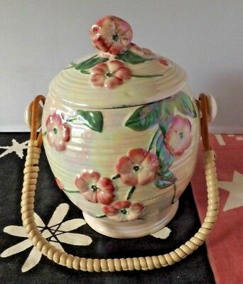 Vintage Maling Ware Pottery Lustre Biscuit Barrel  8 inch tall  Good Condition