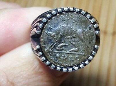 Ancient Roman She Wolf & Twins Constantine the Great Coin 925 Silver Ring