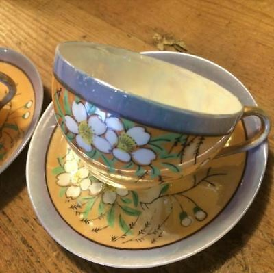 Pair of Hand Painted Japanese Vintage Cups and Saucers - Royal Worcester saucer