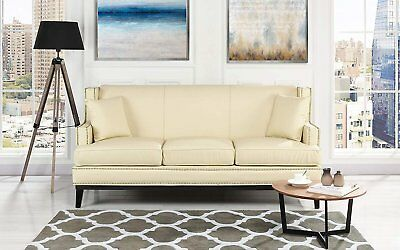 CLASSIC LEATHER SOFA w/ Nailhead Trim Detail, Modern Couch (Off-White)