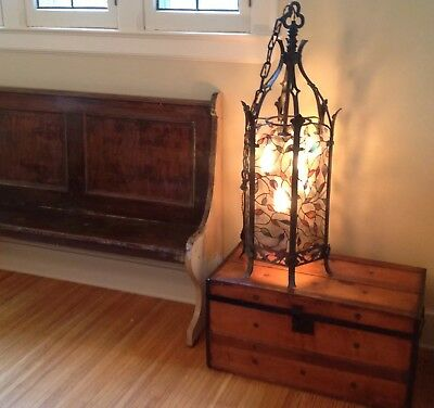 Antique Gothic Wrought Iron Spanish Revival Chandelier Lamp or Floor Lamp