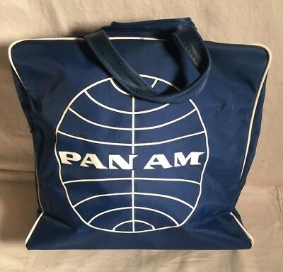 Vintage 1950s 1960s PAN AM Airlines vinyl Flight Travel Carry On blue Tote BAG