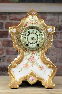 Exceptional 19Thc  Vienna Austria Jewelled Porcelain Antique Shelf Clock