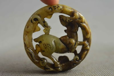Collection Chinese Style Old Jade Carve Ancient Sika deer Amulet Pendant Gift