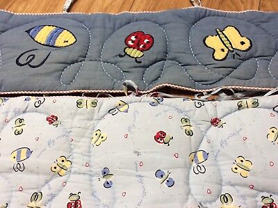 Eddie Bauer Crib Bumper Pad Bedding Denim with butterflies..ladybugs..and more