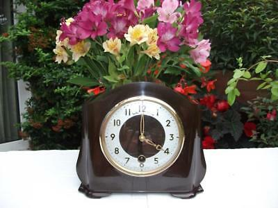 Superb Smiths Bakelite 8 Day Time Only Mantel Clock. 1954. Fully Overhauled.