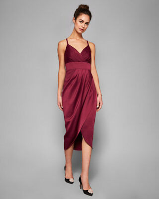 40159ab894 Ted baker Ruched Tie The Knot Drape Midi Bridesmaid evening dress sz 2 UK 10