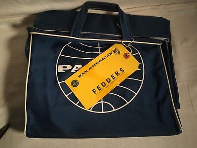 Vintage 1950s 60s PAN AM Airlines Flight Travel Carry On Tote BAG + CLIPPER Tag