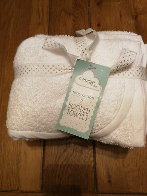 2 X Hooded Baby Towel Brand New George Terry Cotton