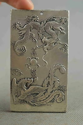Collectable Chinese Style Miao Silver Carve Ancient Dragon phoenix Pendant Gift