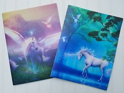Unicorns or Pegasus Plastic Folder ~ Beautiful Durable Forest Sky ~ 1 or Set
