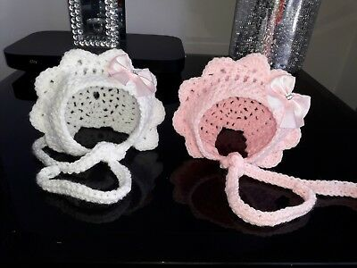 2 New handmade hats bonnet girls bow pink white baby crochet 0-3 months knitted