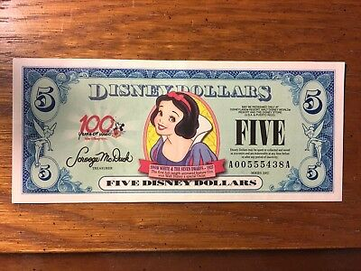 2002 $5 A Series Disney Dollar - Snow White