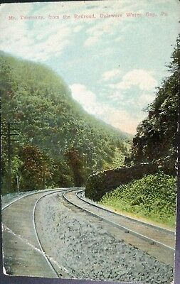 c 1907 postcard Mt. Tammany from the Railroad, Delaware Water Gap, PA RR tracks
