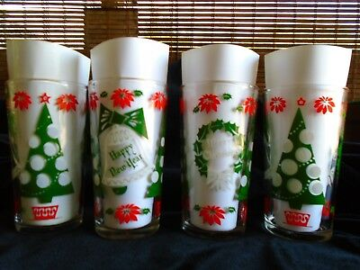 Vintage~1950's~Christmas Highball~Tumblers~Mid Century ~Set Of 4~Trees~Bells @3