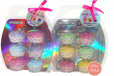 Set of 6 Beauty Bake Scented Fizzers Novelty Cupcake Bath Bombs Gift Set