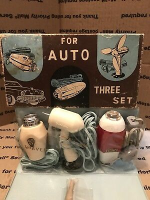 Vintage 1950 - 1960's Auto Accessories Three Set 6v SHAVER LIGHT and FAN NOS NIB