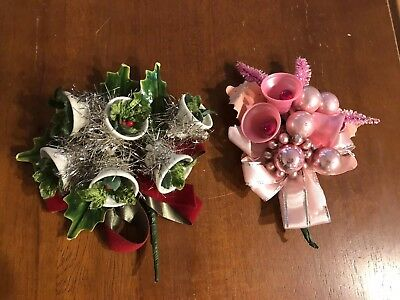 2 Vintage Holiday Christmas Corsages With Bells, Leaves And Mercury Ornaments