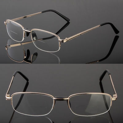 93ccb3f74a4 Bifocal Reading Clear Glasses Men Women s Quality 1.25~4.00 Metal Frame