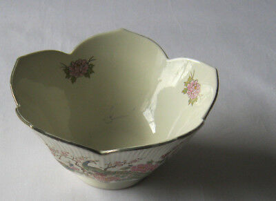 Peacock dish design with flowers vintage ceramic Made in Japan bowl