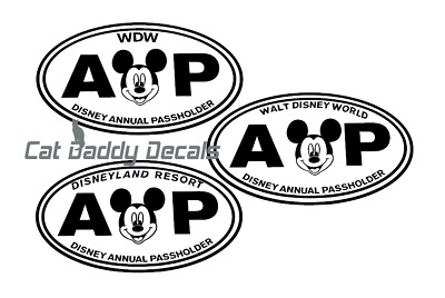 Mickey Decal Disneyland Decal Disney World Decal Annual Passholder Decal AP