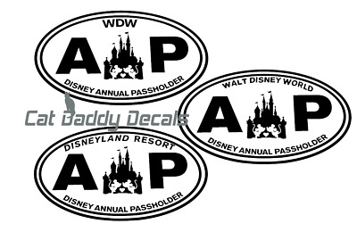 Mickey and Minnie Decal Disneyland Decal Disney World Decal Annual Passholder