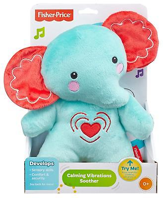 Fisher-Price Calming Vibrations Cuddle Soother, Blue Elephant, Infant Soft Plush