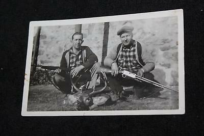 1920s-30s 2 Hunters with Head of White Tail Deer and Rifles Guns Vintage Photo