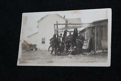 1920s-30s Group of Hunters with Hung Up Bear & Rifles Hunting Guns Vintage Photo