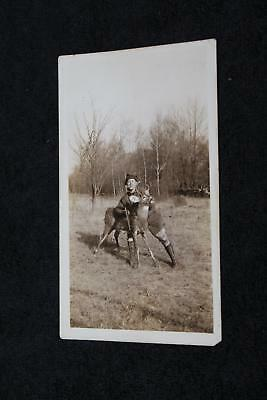 1920s-30s Hunter Holding Up White Tail Deer with Rifle & Cigar Vintage Photo