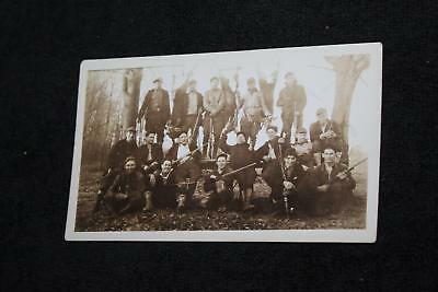 1920s-30s Group of Hunters w Hung Up White Tail Deer & Rifles Collectible Photo