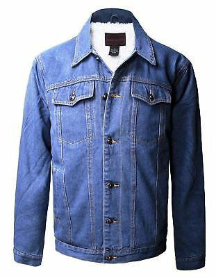 New Maximos Men's Sherpa Lined Jean Jacket Button Up Collared Light Blue Denim