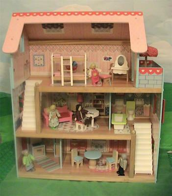 KidKraft Chelsea Wooden Dollhouse Cottage w Furniture 65054 Includes Family of 5