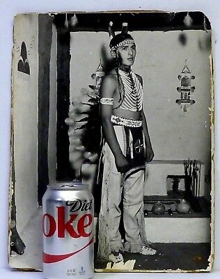 ANTIQUE NATIVE AMERICAN INDIAN IN HEADDRESS PHOTOGRAPH 14 x 11