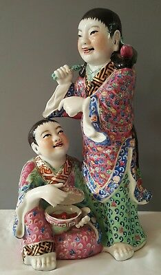 Fine Chinese Famille Rose Figure of Children Lotus Impressed Seal Mark