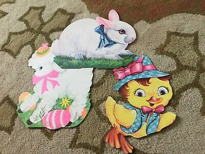 lot of 3 vintage Easter Decorations Cardboard Die Cut Bunny Lamb Chick