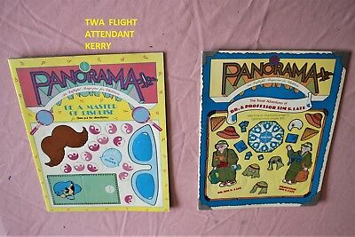 2 Pan Am Airlines Logo Panorama Inflight Magazine Children Game Booklet Set Lot