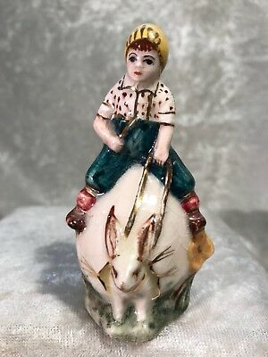 Vintage Miniature Ceramic Boy Riding Bunny Easter Egg Vase