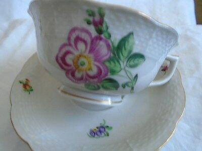 Vintage Estate Herend Hungary  Porcelain Cup And Saucer.