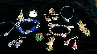 Christmas in July lot of Christmas Jewelry - some marked Beatrix, Gerry's, JJ