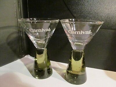 2 x CARNIVAL CRUISE LINE SHOT glass green bubble base set mini martini