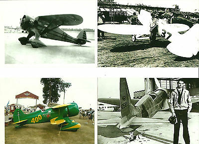 """LOT OF 4: LOT#15 (Pete) RACING AIRPLANES 4"""" X 6"""" BLACK & WHITE PHOTOGRAPHS"""