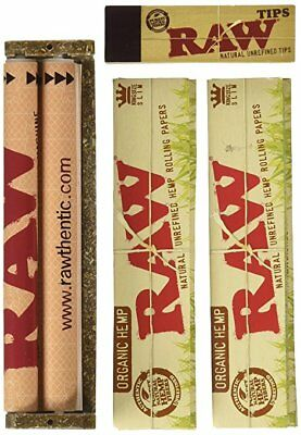 Raw Rolling Paper King Size Organic Kit. 110mm Roller and Wide Filters
